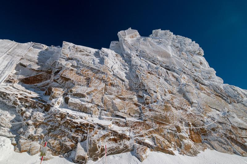 "So called ""frozen wall"" in front of a blue sky in Austrian ski region of Hintertux Glacier. Zillertal, Austria royalty free stock photo"