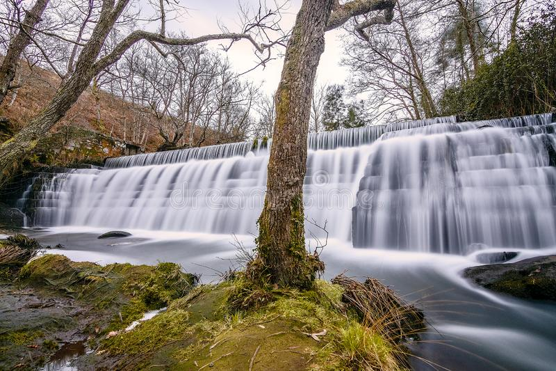 Strange waterfall in Galicia stock photography