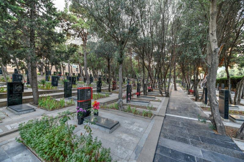 Callejón de mártires en el parque de la altiplanicie en Baku Azerbaijan foto de archivo libre de regalías