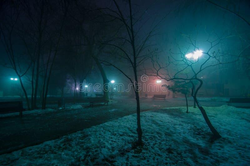 Callejón del invierno en la noche foto de archivo