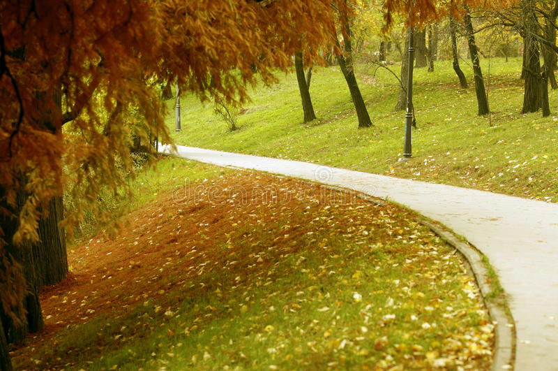 Callejón en el parque en la caída fotos de archivo
