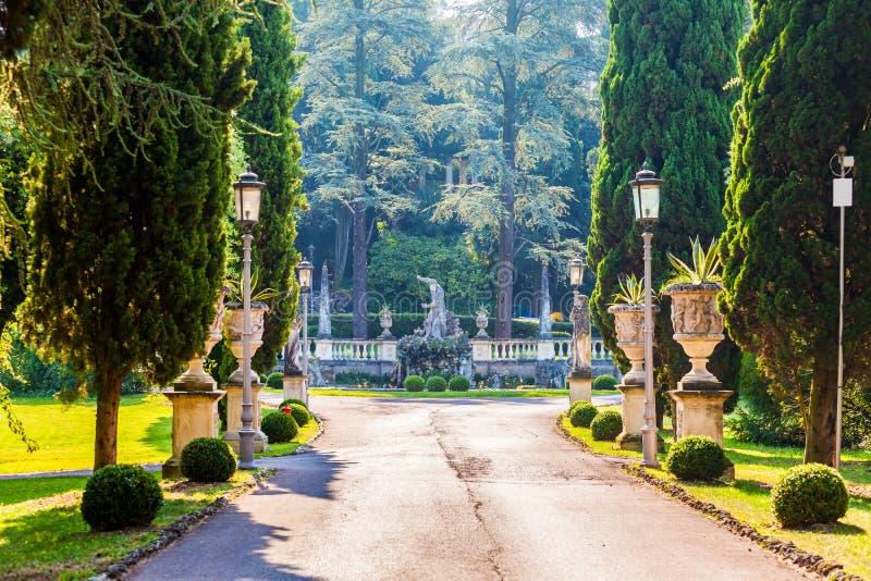 Callejón hermoso del parque en un estilo clásico con las estatuas, el estuco y los enebros fotografía de archivo libre de regalías