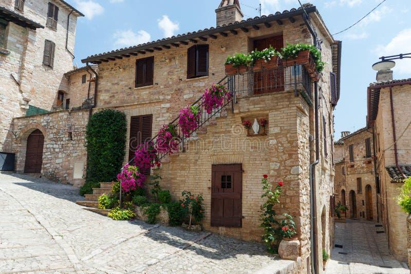 Callejón histórico medieval italiano tradicional de pequeño hermoso fotografía de archivo