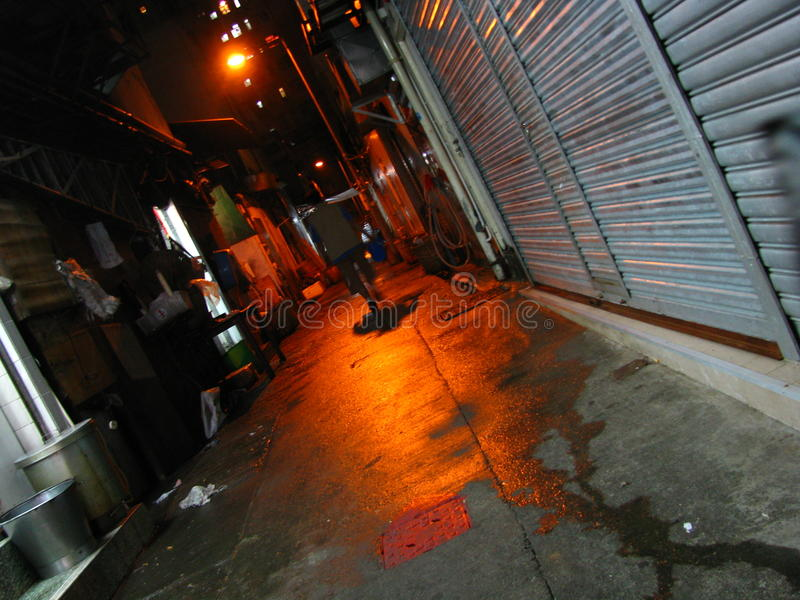 Callejón lluvioso en Hong Kong foto de archivo
