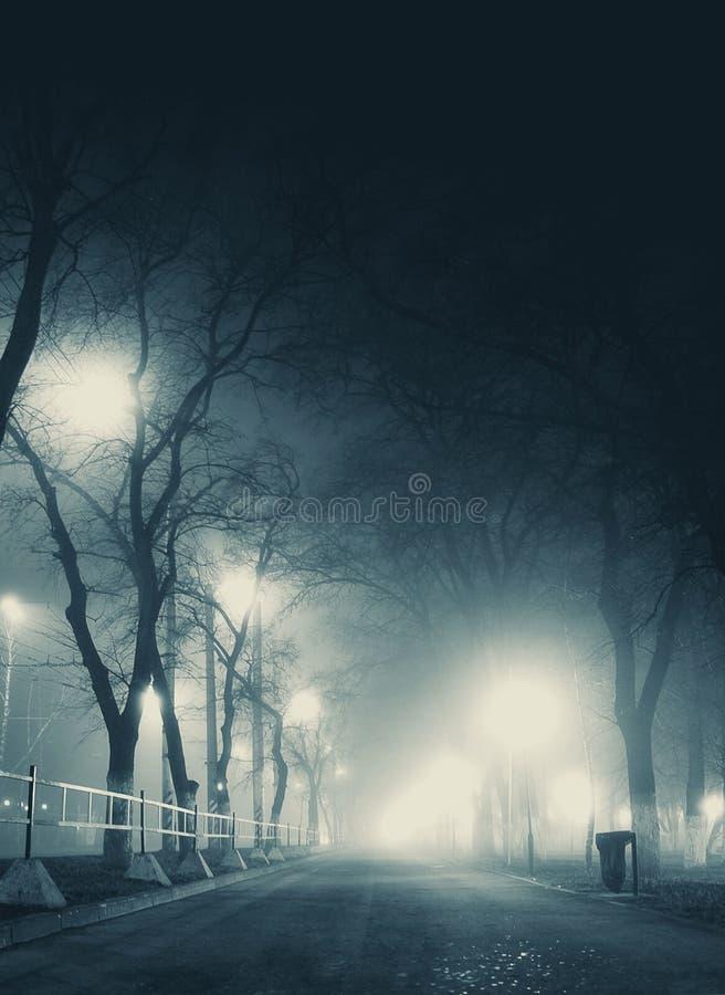 Callejón oscuro en paisaje urbano silencioso de la colina de la niebla en invierno imágenes de archivo libres de regalías