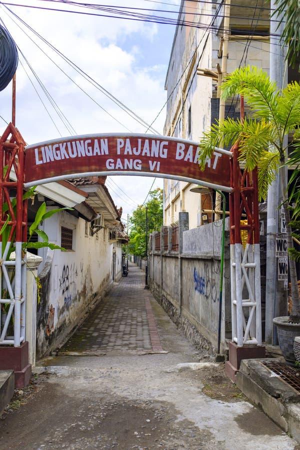 Callejón trasero en Mataram fotografía de archivo libre de regalías