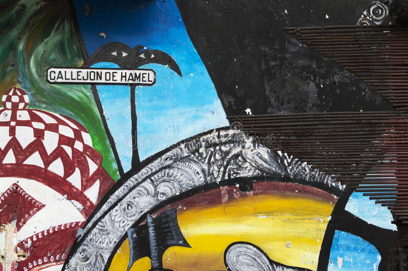 Callejon de Hamel ζωγραφική τοίχων, Αβάνα, Κούβα στοκ εικόνες με δικαίωμα ελεύθερης χρήσης