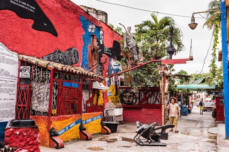 Callejon de Hamel / Hamel Alley. Havana, Cuba / March 20, 2016: Tucked in a hidden corner of Old Havana, Callejon de Hamel Hamels Alley brings Afro-Cuban to royalty free stock images