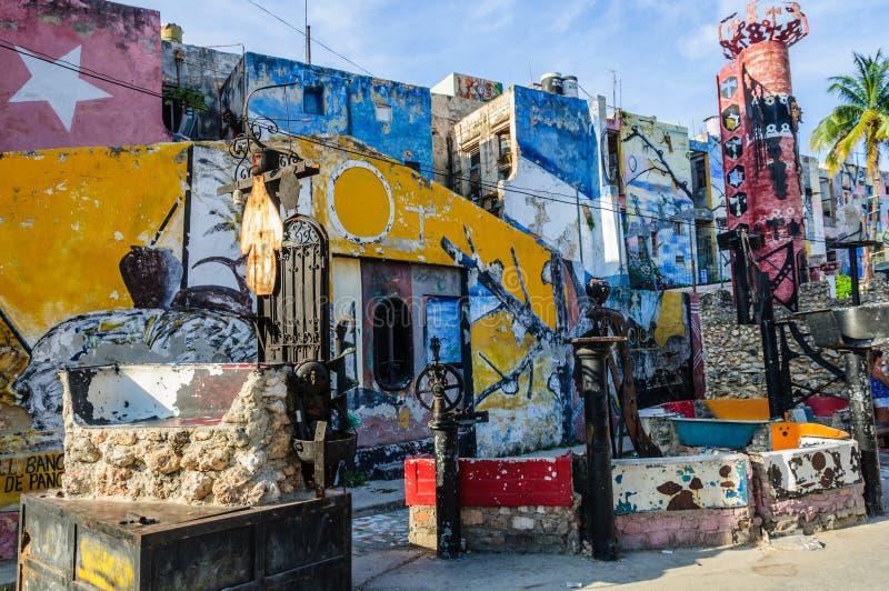 Callejon de Hamel a Avana, Cuba immagine stock libera da diritti