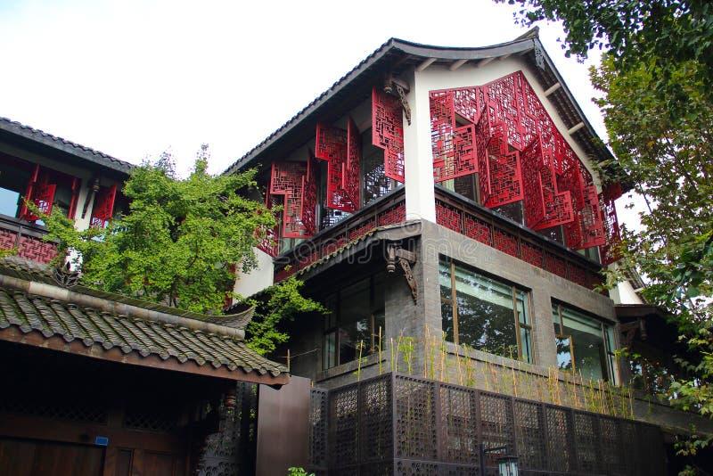 Callejones anchos y estrechos en la ciudad de Chengdu imagen de archivo libre de regalías