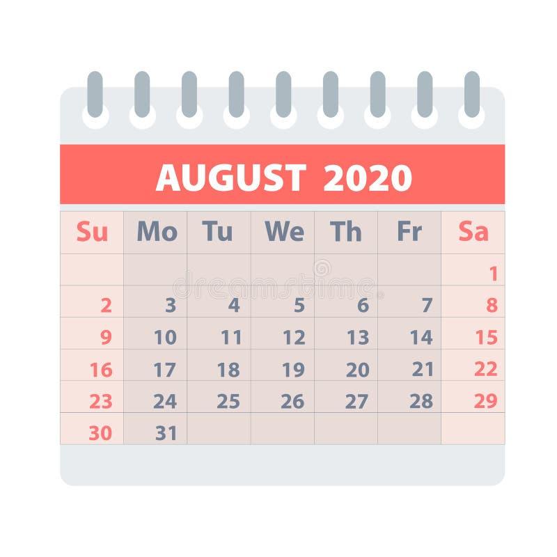 Callendar在平的样式的2020年8月在白色,储蓄传染媒介例证的设计的 库存例证