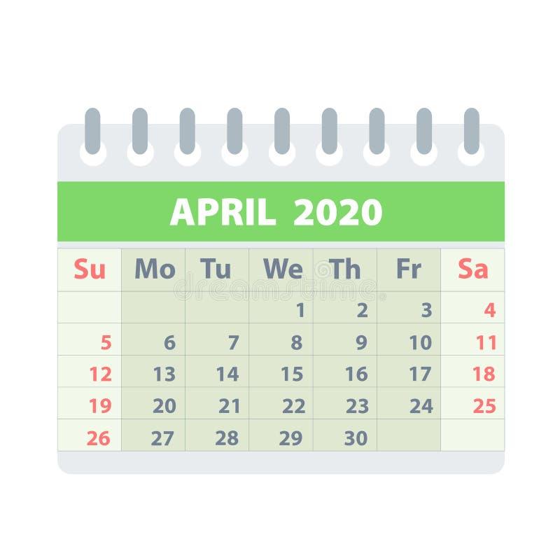 Callendar für April 2020 in der flachen Art für Entwurf auf weißer, Vektorillustration auf Lager vektor abbildung