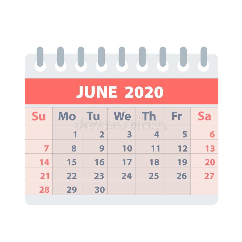 Callendar für Juni 2020 in der flachen Art für Entwurf auf weißer, Vektorillustration auf Lager lizenzfreie abbildung