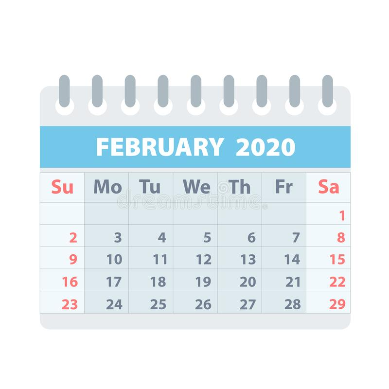 Callendar for February 2020 in flat style for design on white, stock vector illustration vector illustration