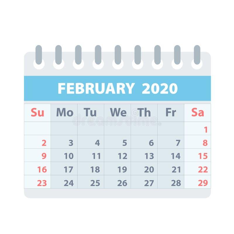 Callendar para febrero de 2020 en el estilo plano para el diseño en el ejemplo blanco, común del vector ilustración del vector