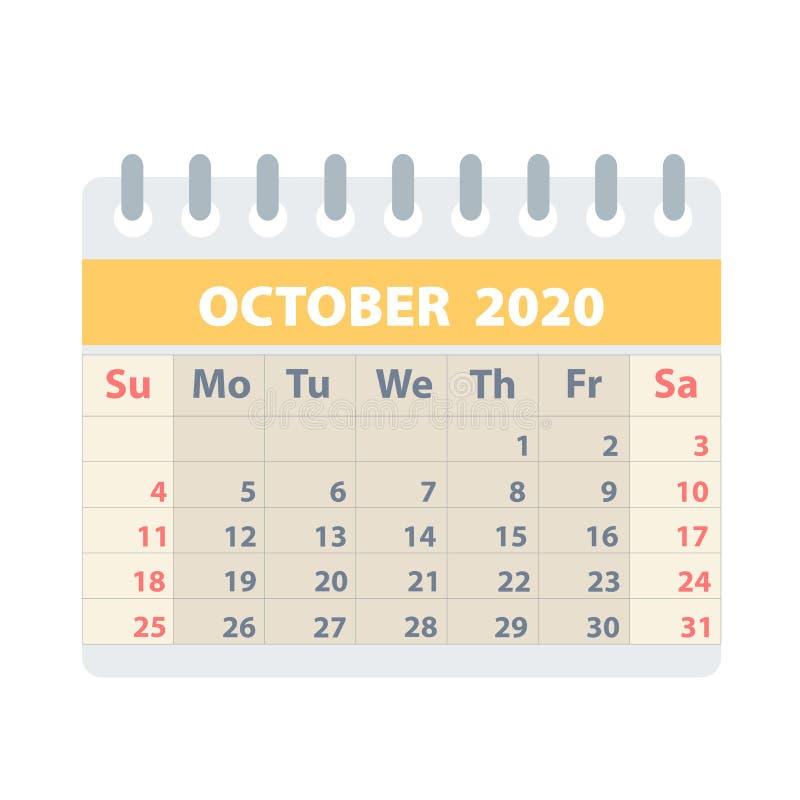 Callendar para octubre de 2020 en el estilo plano para el diseño en el ejemplo blanco, común del vector stock de ilustración