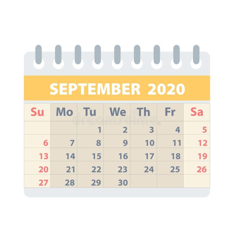 Callendar para septiembre de 2020 en el estilo plano para el diseño en el ejemplo blanco, común del vector libre illustration