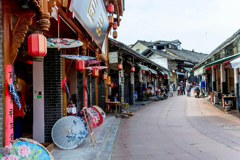 Calles antiguas de la ciudad antigua de Luodai de la señal de Chengdu, China fotografía de archivo
