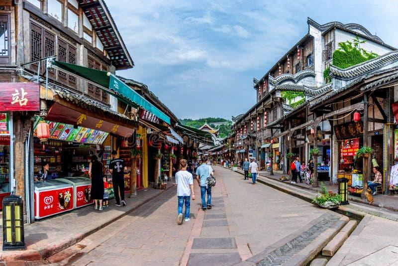Calles antiguas de la ciudad antigua de Luodai de la señal de Chengdu, China imagenes de archivo