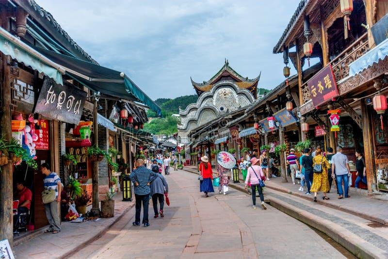 Calles antiguas de la ciudad antigua de Luodai de la señal de Chengdu, China foto de archivo