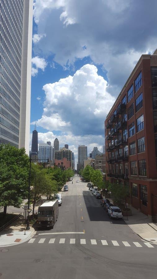Calles céntricas de Chicago foto de archivo