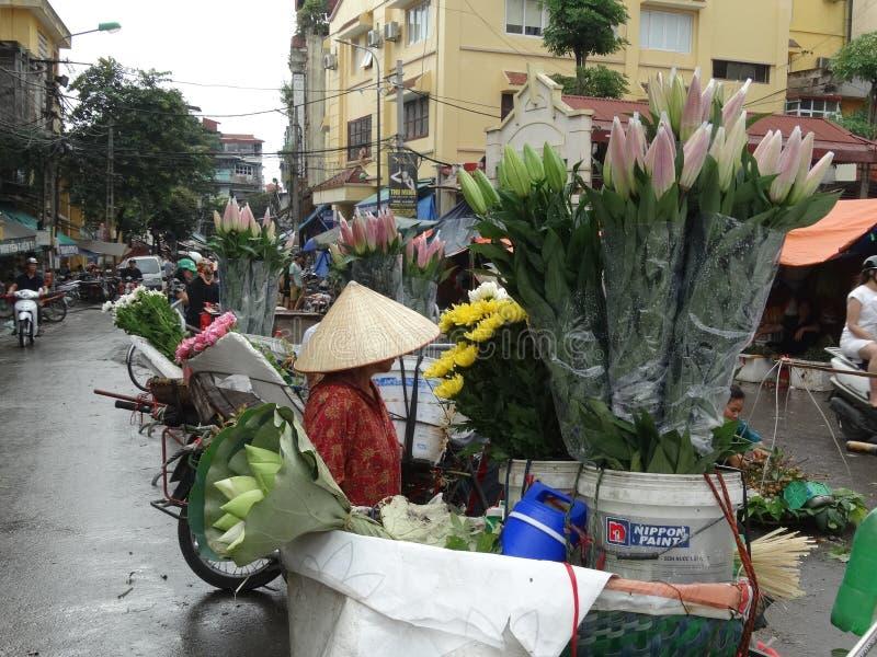 Calles cuarto del ` s de Hanoi del viejo imagen de archivo