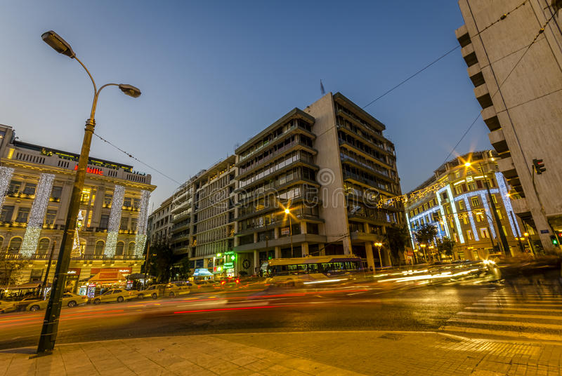 Calles de Atenas, sintagma fotos de archivo libres de regalías