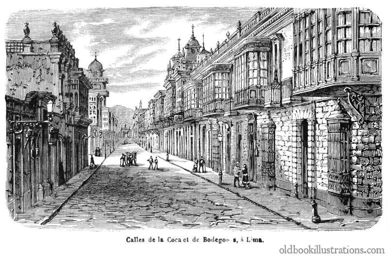 Calles de Coca and Bodegones, Lima stock photography