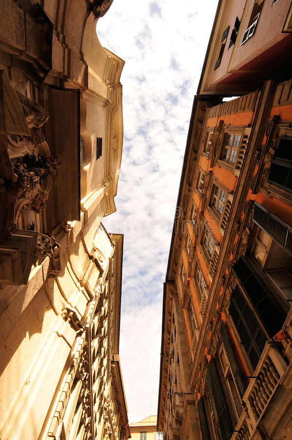 Calles de Génova imagen de archivo