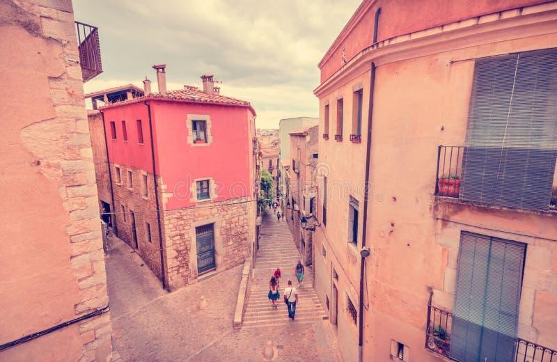 Calles de Girona - España, más que Barcelona imágenes de archivo libres de regalías