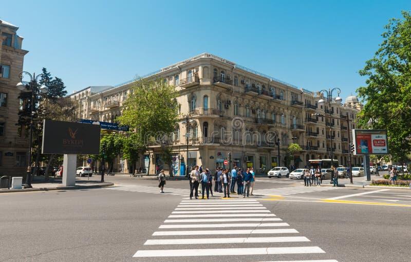 Calles de la ciudad de Baku fotografía de archivo libre de regalías
