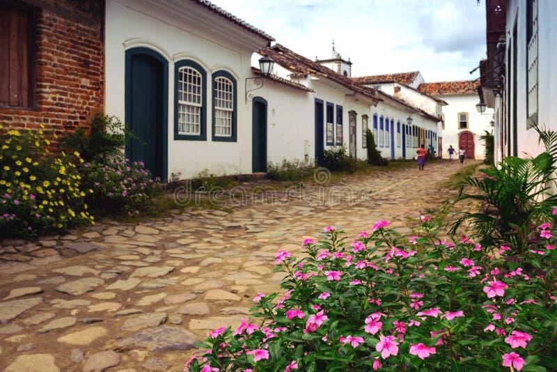 Calles de la ciudad histórica Paraty el Brasil foto de archivo