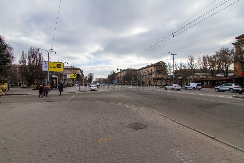 Calles de la ciudad de Zaporozhye foto de archivo libre de regalías