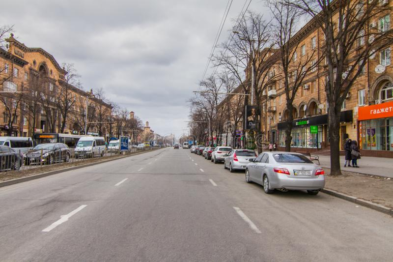 Calles de la ciudad de Zaporozhye imagen de archivo libre de regalías