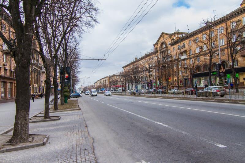 Calles de la ciudad de Zaporozhye foto de archivo
