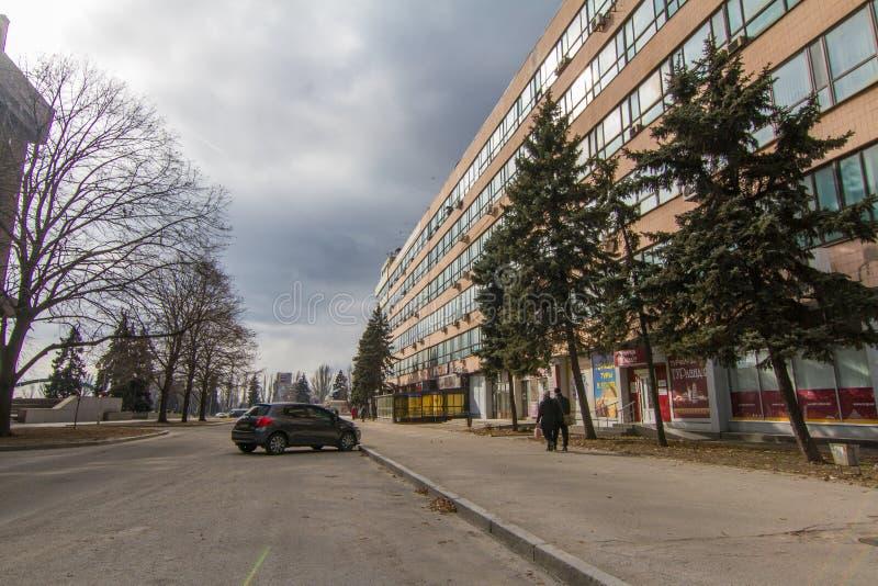 Calles de la ciudad de Zaporozhye imágenes de archivo libres de regalías