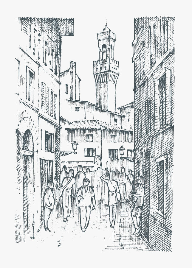 Calles de la escena en la ciudad europea Florencia en Italia mano grabada dibujada en viejo estilo del bosquejo y del vintage his stock de ilustración