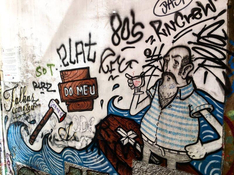 Calles de la pintada de Lisboa foto de archivo libre de regalías
