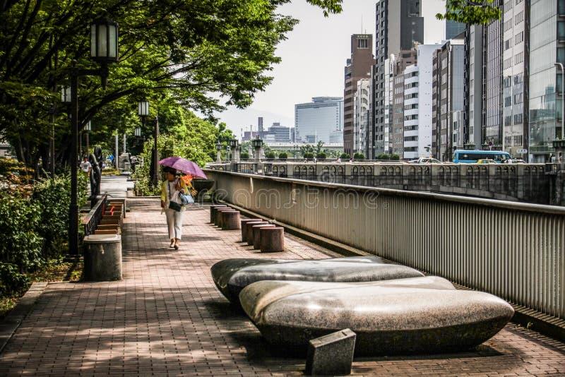 Calles de Osaka, rascacielos y un transeúnte cerca durante un día de verano caliente, Osaka central, isla de Nakanoshima, Japón, imagenes de archivo