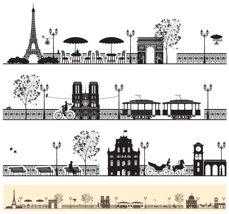 Calles de París stock de ilustración