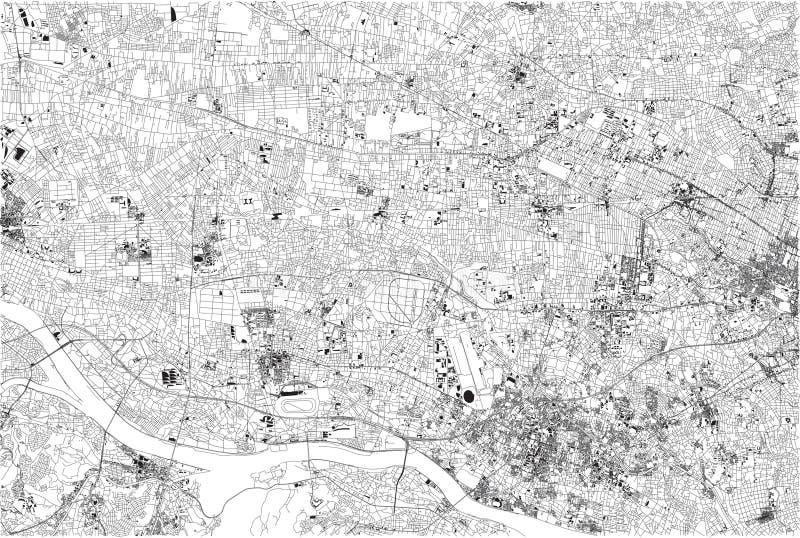 Calles de Tokio, mapa de la ciudad, Japón stock de ilustración