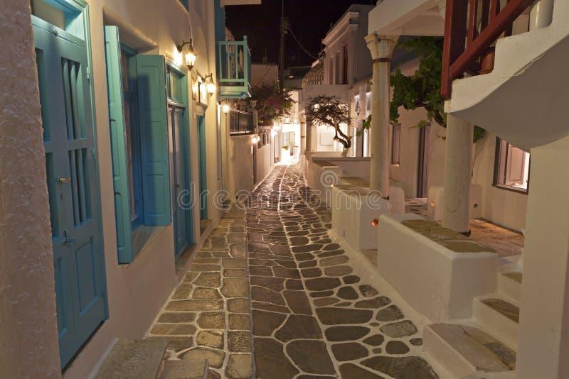 Calles en la isla de Mykonos en Grecia imagen de archivo
