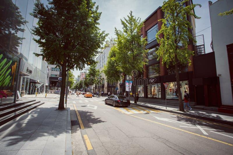 Calles famosas del área de Garosu-gil en Gangnam, Seúl fotografía de archivo libre de regalías