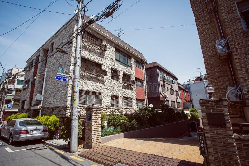 Calles famosas del área de Garosu-gil en Gangnam, Seúl fotografía de archivo