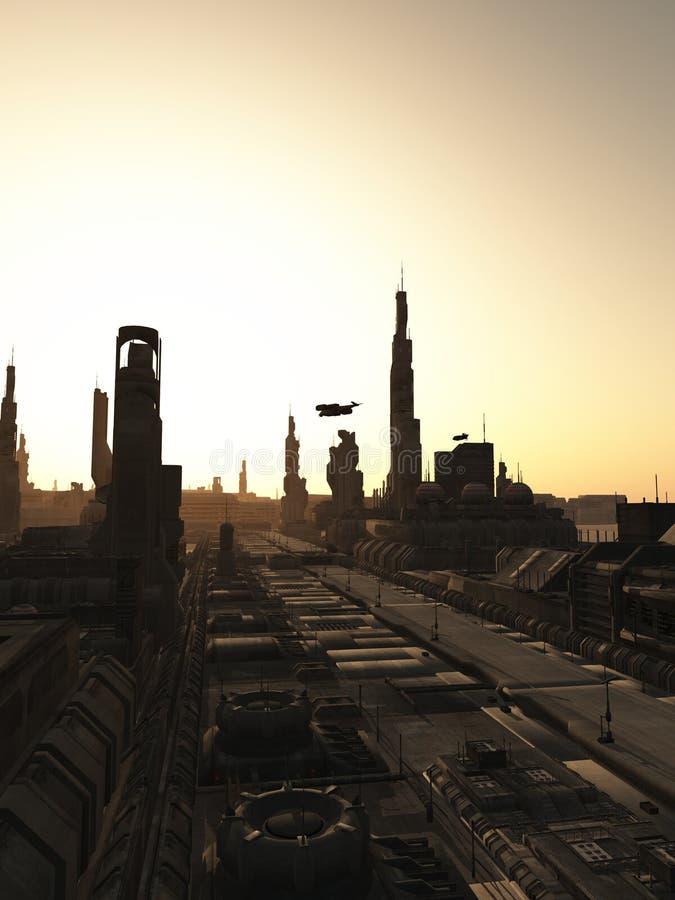 Calles futuras de la ciudad en la salida del sol stock de ilustración
