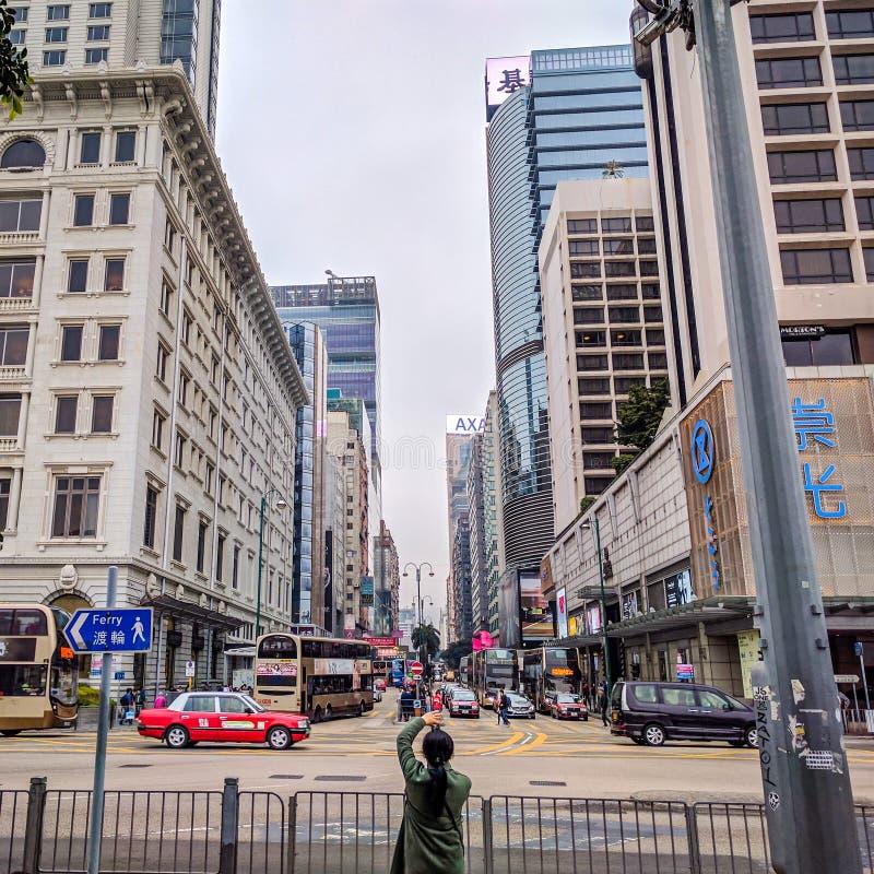 Calles muy transitadas en Tsim Sha Tsui imagen de archivo libre de regalías