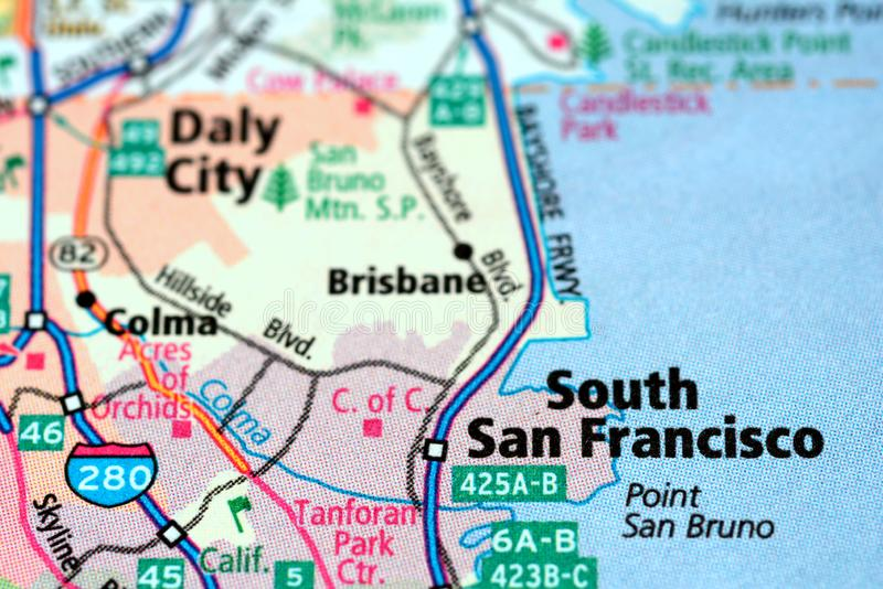Calles numeradas en el mapa alrededor de la ciudad de San Francisco del sur, los E.E.U.U., el 12 de marzo de 2019 foto de archivo libre de regalías