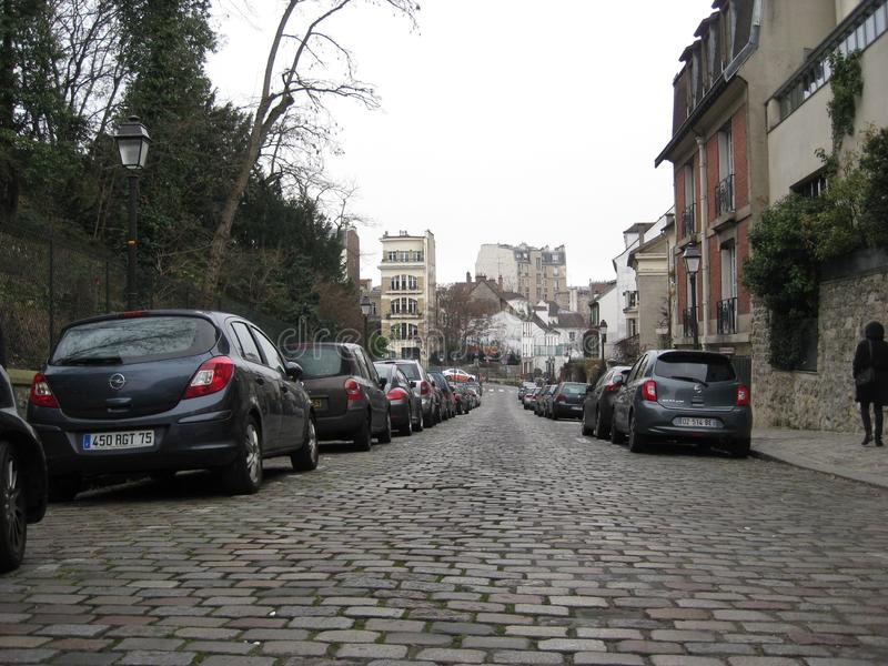 """Calles viejas de los adoquines alrededor ur de Sacré-CÅ """", París imágenes de archivo libres de regalías"""