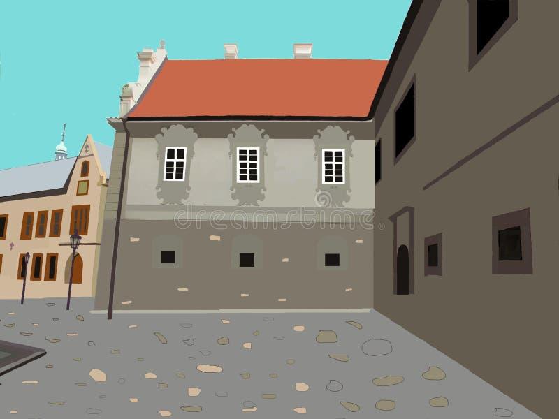 Calles y patios de ciudades europeas medievales stock de ilustración