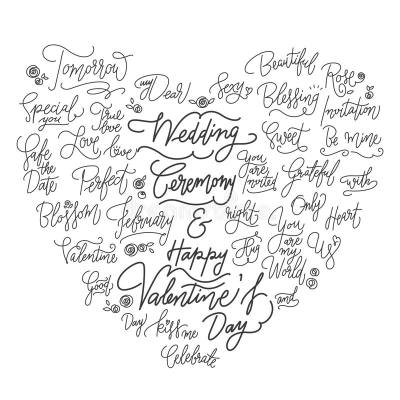 Wedding calligraphic good quotes in heart shape. royalty free illustration